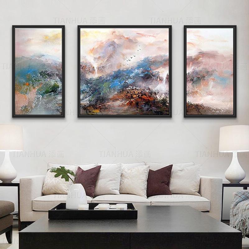 添画创作简约现代抽象画手绘山水风景油画客厅沙发三拼组合装饰画-