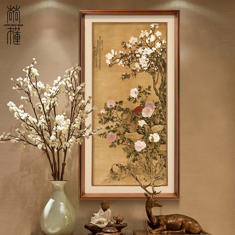 尚尚木莲 新中式玄关装饰画过道有框挂画走廊壁画玉堂富贵图-尚尚木图片