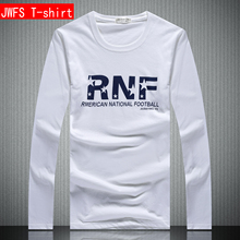 Spring and autumn slim pure white round neck printed cotton T-shirt