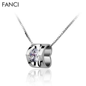 [永恒] FANCI 正品施华洛世奇锆石纯银项链吊坠女短款白银项链999