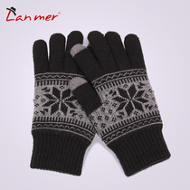 Lanmer gloves winter warm gloves for men and women fashion thick double mens wool gloves in the winter