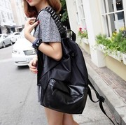 Rivet bag lady Han Banchao school bag leather black backpack college wind computer bag mail