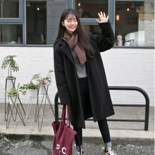 Korean version of autumn and winter cocoon wool medium and long student's black overcoat