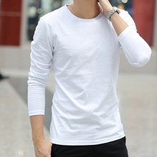 Trend solid cotton round neck white short sleeve autumn clothes