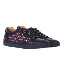 本物の購入Buscemiメンズカラーの編み上げた革の靴118SM057KB800FI00を助けるために低い