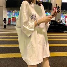 Medium and long short sleeve T-shirt for women 2018 new Korean version all style hip hop hiphop girls' top cool and handsome Street