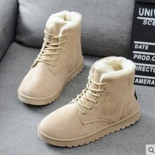 Women's boots with plush and thick flat heels and short lace UPS for students in autumn and winter