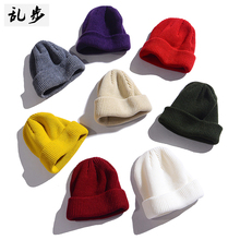 Hat men's autumn and winter new all-around pure color ins Hong Kong style knitted hat warm personality trend couple wool hat