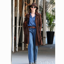 Fashionable flared pants, women's pants, large size washed jeans, medium blue jeans, trousers, foreign trade jeans