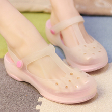 Korean version thick bottom summer non slip and discolored soft bottom jelly hole shoes