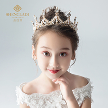 Children's crown princess crown of the girls with hoop pink snow and ice crystal colors of children birthday hair accessories