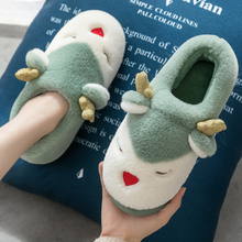 Cotton slippers women's home couple in autumn and winter lovely warm Plush moon shoes bag and children's home man
