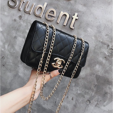Women's bag 2019 new fashion Korean version small fragrant Lingge chain bag women's small bag Versatile Single Shoulder Messenger Bag