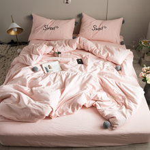 Simple water washing cotton four piece 1.8m bednet net red girl heart princess wind sheet quilt ins