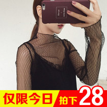 Perspective fall winter fashion sexy mesh Korean lace top