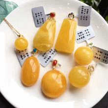 Honey wax hand string with pearl natural 108 women men's accessories chicken oil yellow text play with shape raw ore Duobao