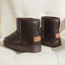 Leather waterproof short tube new fashion Korean snow boots