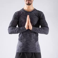 Decathlon autumn winter warm Yoga suit, men's fitness quick dry long sleeve T-shirt breathable YOGMY