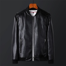 Spring and Autumn New Korean plush and thickened men's leather jacket