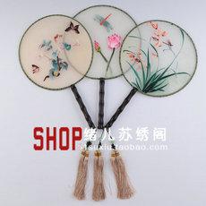 Декоративный веер Складной веер вышивка двухсторонняя