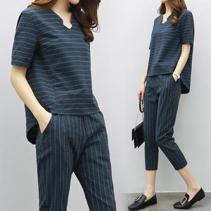 欧洲站2017夏季新款女装时尚休闲两件套短袖上衣小脚裤棉麻套装女女装夏