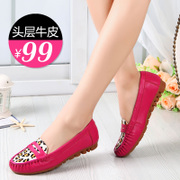 fall new leopard horse hair shoes tendon at the end Peas shoes women flat shoes mom shoes first layer of leather driving shoes