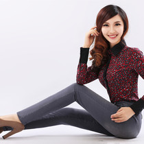 Grey pencil high waist stretch skinny skinny feet in autumn and winter pants