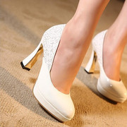 2014 new high heels Korea ss Occupational white patent leather shoes with thick waterproof high-heeled women's singles Shoes
