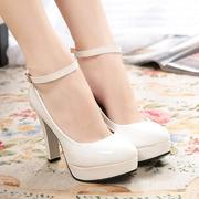high with 12cm thick heel white wedding shoes, high heels Korea ss singles Low shoes waterproof shoes