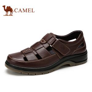 Camel/骆驼男鞋夏季真皮镂空皮鞋男透气休闲凉鞋牛皮中老年爸爸鞋皮鞋