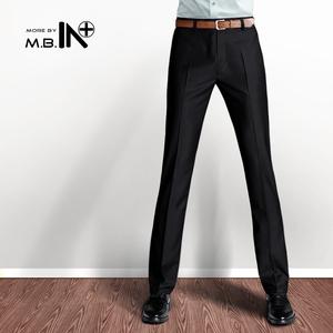MBIN秋厚款修身西裤加绒英伦免烫男士正装商务休闲西装裤男装长裤男士西裤
