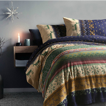 Christmas deer thickened upscale American four-piece cotton bedding cotton sanded authentic textile bedding