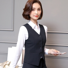 Autumn and winter black professional three piece suit hotel bank dress shirt