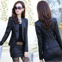 Spring and autumn Haining suit leather skirt leather jacket