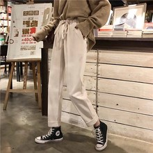 Autumn and winter Korean version loose elastic waist woolen pants for students