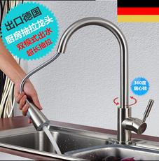 Кухонные смеситель 出口德国旋转式无铅冷热厨房水龙头铜抽拉式拉丝洗菜盆水槽龙