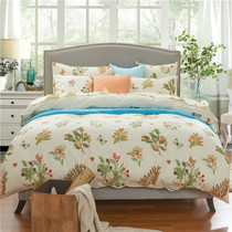 American four-piece fresh flower printed cotton exported to sleep in the nude and silky satin long-staple cotton bedding