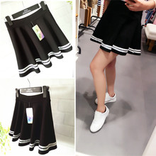 Elastic high waist light proof short skirt with pleats in spring and summer