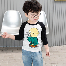 2019 new children's long sleeve T-shirt boys' and girls' bottoming shirt baby top pure cotton spring short sleeve T-shirt