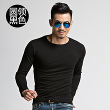 Men's long sleeve T-shirt autumn army green men's long sleeve Pullover T-shirt round neck large elastic solid color bottoming V-neck student