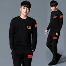 Men's T-shirt and pants a set of spring and autumn couple sports clothes new middle-aged and old people's casual Chinese style suit