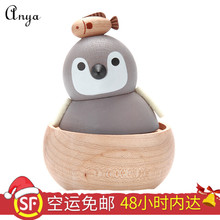 Jeancard wooden music box, octave box, penguin baby, girls, children, Christmas gifts, rotation.