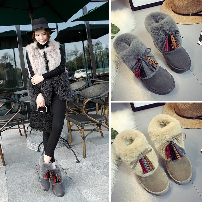 天天特价雪地靴女冬季韩版百搭短筒学生短靴子保暖加绒棉鞋流苏靴