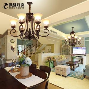 美式灯具客厅欧式别墅复式楼大吊灯乡村铁艺复古奢华大气餐厅卧室复古吊灯