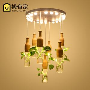 植物吊灯创意吊灯吧台艺术装饰北欧木艺玻璃酒瓶花草吊灯活植物酒瓶吊灯