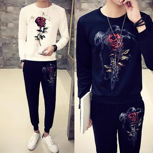 长袖T恤套装秋冬季卫衣加肥加大码套装胖子衣服一套潮流韩版男装男装