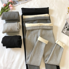 Autumn and winter thread plush and thickened grey casual Leggings