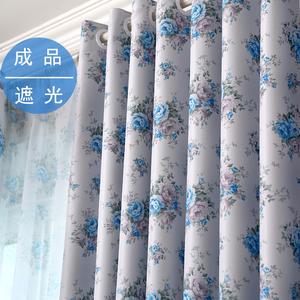 窗帘成品特价遮阳布卧室隔热防晒遮光窗帘布料遮光布飘窗短帘蓝色遮阳布