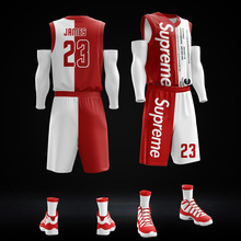 Basketball suit, custom set, male student team competition training, custom basketball clothes DIY full body print.