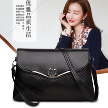 Messenger one shoulder women's bag soft leather small square bag new fashion versatile fashion women's atmosphere middle age handbag